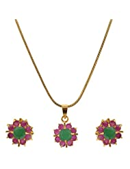 Ruby And Emarald 1 Gram Gold Plated Pendant Earing Set Without Chain