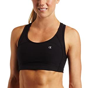 Champion Women's Cotton Fitness Racerback Bra, Black, Medium