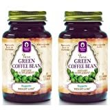 Genesis Today Green Coffee Bean, 2 Bottles of 60 Capsules Each (Total 120 Capsules) Contains 50% Chlorogenic Acids, (400 mg each, 800 mg per serving, 2 capsules per serving)