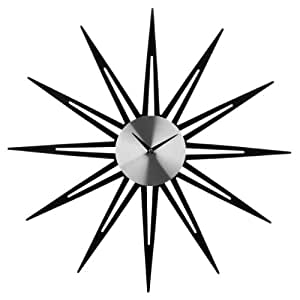 decorative wall clock with star shape made of mirror