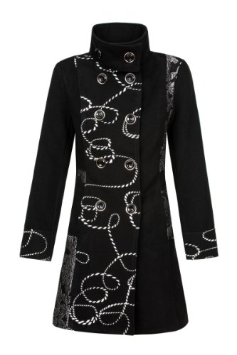 Laeticia Dreams Damen Luxus Winter Mantel Patchwork Trenchcoat S M L XL, Farbe:Schwarz;Größe:48