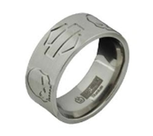 Harley-Davidson® Men's Stamper Black Hills Gold Titanium Ring. Etched Silhouette Bar and Shield. TR21