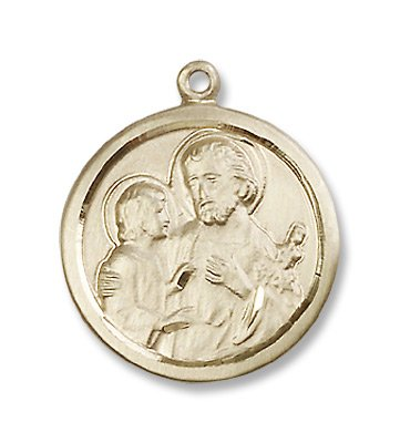 Gold Filled St. Joseph Medal Pendant Charm with 18
