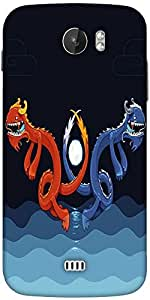 Snoogg Dragons In The Water 2622 Designer Protective Back Case Cover For Micromax A110