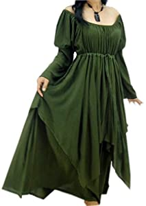 Lotustraders Dress Peasant Layer Renaissance OS L-2X Green G803G