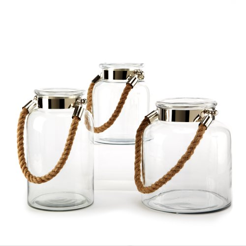 Two's Company Lanterns with Rope Handle, Set of 3