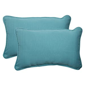 Pillow Perfect Indoor/Outdoor Forsyth Corded Rectangular Throw Pillow, Turquoise, Set of 2 by Pillow Perfect