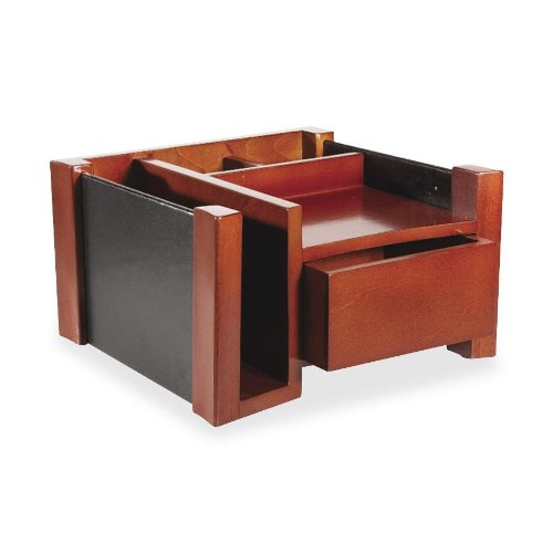 Rolodex Wood And Faux Leather Desk Director, Mahogany And Black (81767)