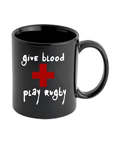 Cotton Island - Tazza 11oz TRUG0106 give blood play rugby black logo, Taglia 11oz