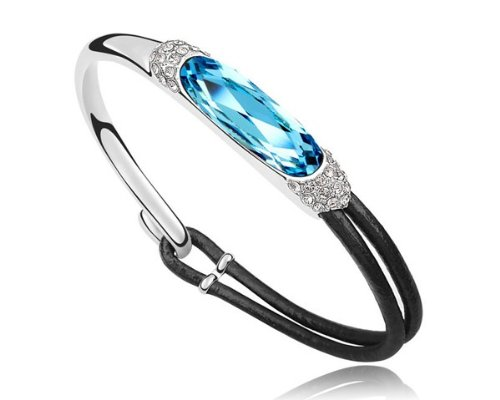 Ninabox ® Cool Breeze Collection [CBC] -- Angel and Demons. 18K White Gold Plated Alloy & Leather Bangle Bracelet with Oval Light Blue Swarovski Elements Crystal. Original Design From Ninabox. Bracelet Diameter: 5.5 cm. BAG03847WB