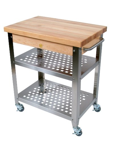 John Boos Stainless Steel Cart With 30 By 20-Inch Maple Top, Stainless Steel Shelves And Casters