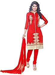 Latest Embroidered Chanderi Red Dress Material