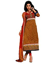 Sabrang Brown Embroidered Net Jacquard Semi Stitched Day Wear Salwar Suit