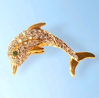 Dolphin Swarovski Crystals Brooch Pin Jewelry NEW 24K Gold Fish Leaping Ocean...