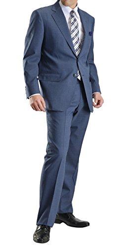 2ツボタンススーツ メンズ ゆとりのあるビジネススタイル 紳士 ワンタックスラックスA-4号(S):B:ブルーグレー230131-1