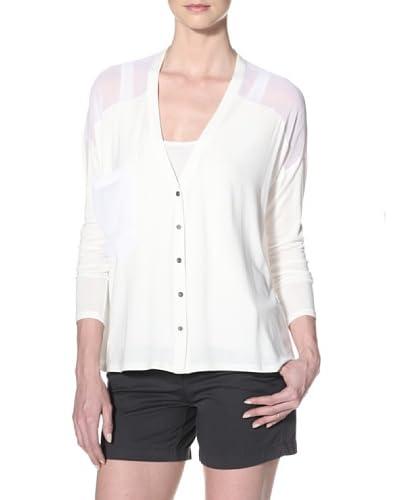 Qi Cashmere Women's Veronika A-Line Cardigan  - White