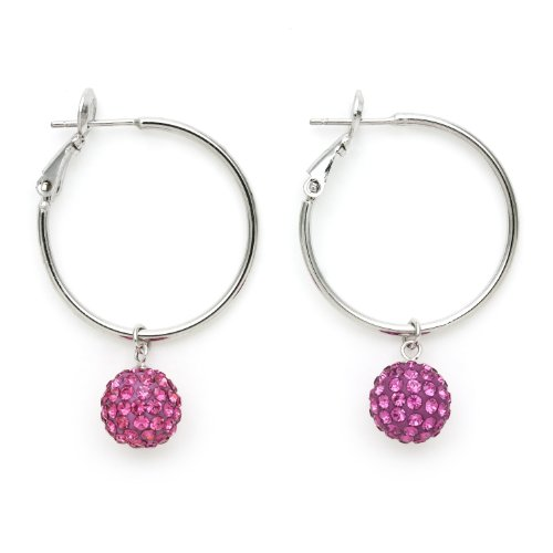 Sterling Silver Magenta Crystal Ball Hoop Earrings, Free Shipping and Gift Box