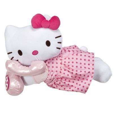 Popular Hello Kitty Cuddle Bed Pillow in Pink Dress Talking on Phone