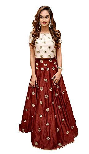 Aanya Women's Maroon Taffeta Silk Embroidered Wedding Crop Top And Lehenga With Dupatta