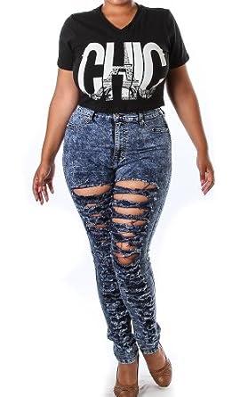 Pinkclubwear Plus Size Acid Denim Washed High Waist Ripped Jeans-Blue-1X