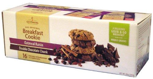 Erin Baker's Breakfast Cookie, Oatmeal Raisin, Double Chocolate Chunk, 3-Ounce (Pack of 16)