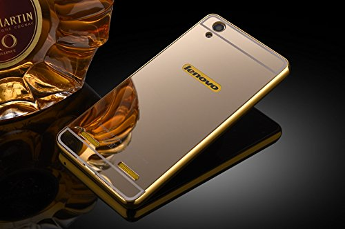 Febelo Branded Luxury Metal Bumper + Acrylic Mirror Back Cover Case For Lenovo A6000 / Lenovo A6000 Plus - Gold Plated