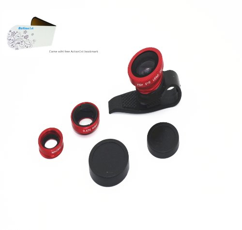 Action1St 3-In-1 Universal Clip On Detachable Wide Angle+Macro+Fish-Eye Lenses Kit For Iphone 4 4S 4G 5 5G 5S 5C Samsung Galaxy S2 I9100 S3 I9300 S4 I9500 Note1/2/3,Blackberry (Red)