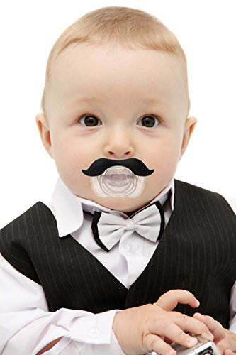 Mustache Pacifier For Babies and Toddlers. Made of High Grade Silicone. BPA Free for your baby. Higher quality pacifier than other brands with gift quality package. (Black)