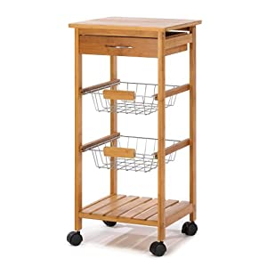 Osaka Bamboo Wood Rolling Utility Kitchen Cart Rack