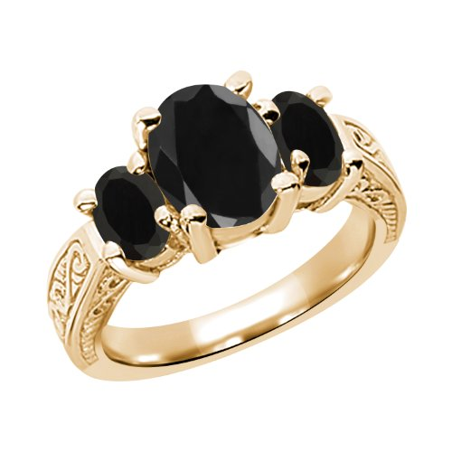 3.32 Ct Oval Black Sapphire Onyx 925 Yellow Gold Plated Silver 3-Stone Ring