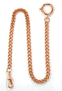 Dueber Rose Gold Plated Stainless Steel Pocket Watch Chain with Spring Ring