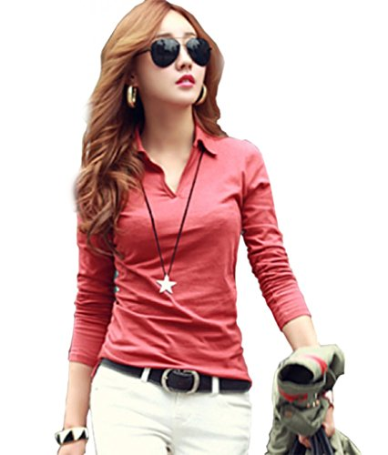 T-shit semplice primavera, da donna, a maniche lunghe e felpe 100% cotone di attività V-col Creative Tops rosa X-Small