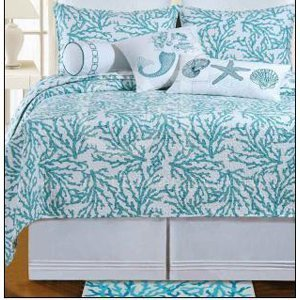 Full / Queen Quilt - Cora Blue - Tropical Beach Coral Design...