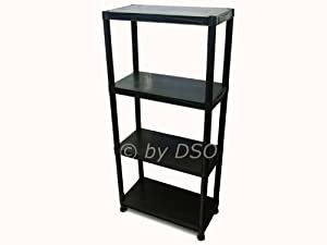 4 Tier Black Heavy Duty Plastic Strong Shelf Unit