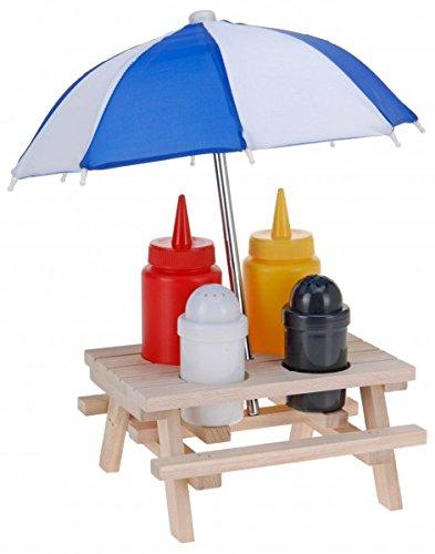 6-tlg-Picknicktisch-Menage-SET-Senf-Ketchup-Stnder-und-Salzstreuer-Pfefferstreuer-mit-Sonnenschirm-Grillzubehr-Salz-Pfeffer-Streuer-Grillparty