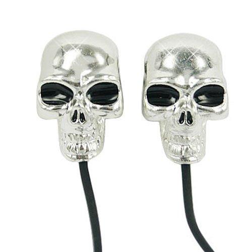 Hde Black & Silver Skull In-Ear Headphone Earbuds W/ 3.5Mm Adapter