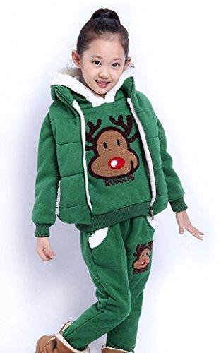 Relibeauty Little Girls' And Big Girls' Thickening Leisure Hood Sweatsuits (6(5-6 Years), Green)