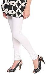 Anuze Fashions White Cotton Lycra Ruby Design Legging