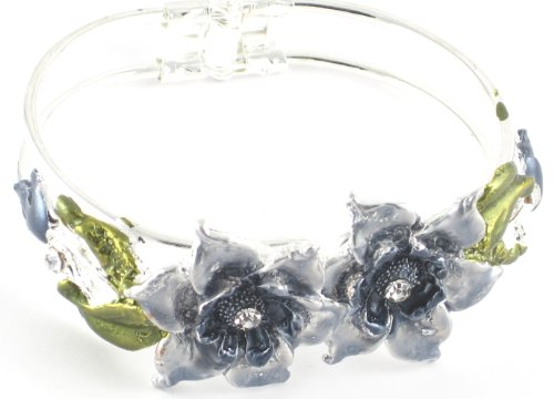 Large Flower Grey Coloured & Diamante Detail Snap Bangle