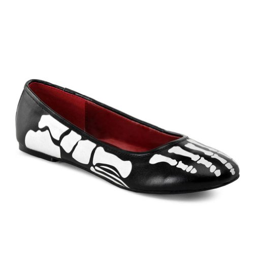 Skeleton Costume Shoes Bones Black Ballet Flats