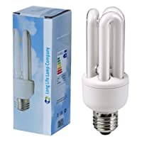 2 x Energy Saving 11W E27 ES CFL Light Bulbs, Edison Screw, 2700K Warm White U3 by Long Life Lamp Company