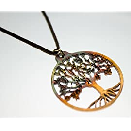 Small Tree of Life Iridescent Pendant Necklace on Adjustable Natural Fiber Cord