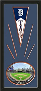 Detroit Tigers Wool Felt Mini Pennant & Comerica Park Photo - Framed With Team... by Art and More, Davenport, IA