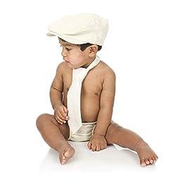 juDanzy baby boys gift box cabbie hat set (6-12 Months, Cream Chambray)