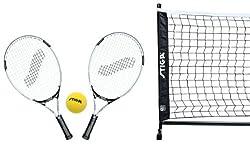 Un ensemble complet de tennis pour les enfants. Il comprend 2 raquettes, 1 balle molle, net et le tendeur net (L 365 cm x H 70 cm). Monté en quelques secondes sur les différentes surfaces. Il peut facilement plier et ranger après utilisation afin d'o...