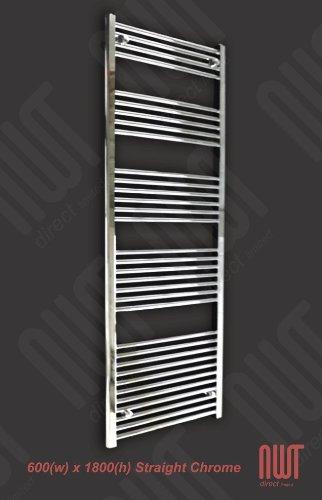 600 x 1800 Heated Towel Rail / Radiator / Warmer - Straight Chrome 3390 BTU's