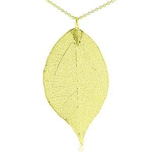 Designer 24K Gold Overlay Leaf Pendant on Multi Chain Necklace