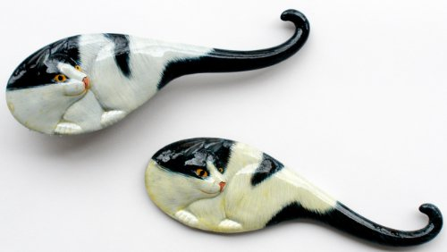 Cat Themed Hair Brush & Mirror Set For Children - Black & White