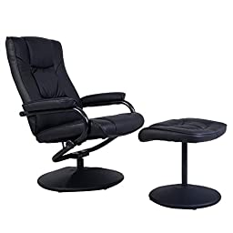 Recliner Chair Swivel Lounge Seat w/ Footrest Ottoman Home - Black Leather Upholstery - Overstuffed Padded Chair And Ottoman - Knob Adjusting Recliner - 360 Degree Swivel Seat -Leather Wrapped Bases