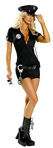 Q-Lingerie, Women's Police Black Girl Costume Zip Front Badge Belt Hat CS36
